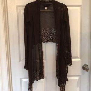 Women's dark brown BCBGMaxAzria cardigan sweater.